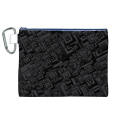 Black Rectangle Wallpaper Grey Canvas Cosmetic Bag (XL)
