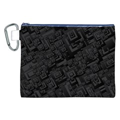 Black Rectangle Wallpaper Grey Canvas Cosmetic Bag (XXL)