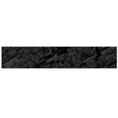 Black Rectangle Wallpaper Grey Flano Scarf (Large)