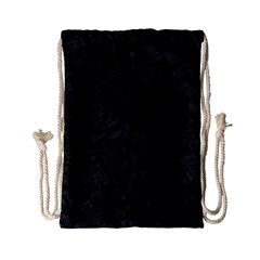 Black Rectangle Wallpaper Grey Drawstring Bag (Small)