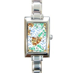 Broken Tile Texture Background Rectangle Italian Charm Watch
