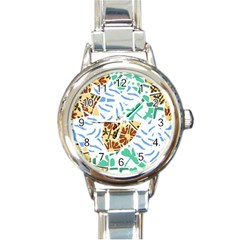 Broken Tile Texture Background Round Italian Charm Watch