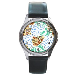 Broken Tile Texture Background Round Metal Watch