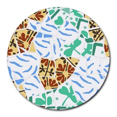 Broken Tile Texture Background Round Mousepads