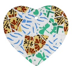 Broken Tile Texture Background Ornament (Heart)