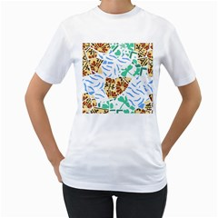 Broken Tile Texture Background Women s T-Shirt (White) (Two Sided)