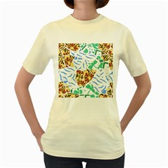 Broken Tile Texture Background Women s Yellow T-Shirt