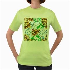 Broken Tile Texture Background Women s Green T-Shirt
