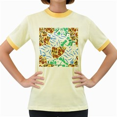 Broken Tile Texture Background Women s Fitted Ringer T-Shirts
