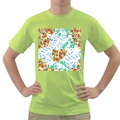 Broken Tile Texture Background Green T-Shirt