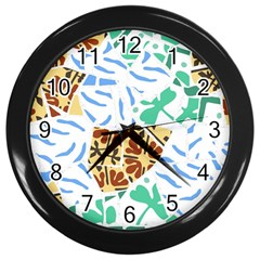 Broken Tile Texture Background Wall Clocks (Black)
