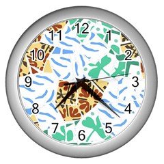 Broken Tile Texture Background Wall Clocks (Silver)