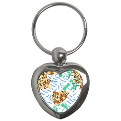 Broken Tile Texture Background Key Chains (Heart)