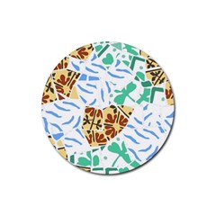 Broken Tile Texture Background Rubber Coaster (Round)