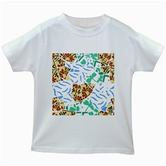 Broken Tile Texture Background Kids White T-Shirts