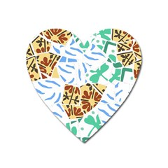 Broken Tile Texture Background Heart Magnet
