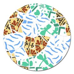 Broken Tile Texture Background Magnet 5  (Round)