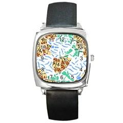 Broken Tile Texture Background Square Metal Watch