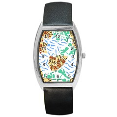 Broken Tile Texture Background Barrel Style Metal Watch