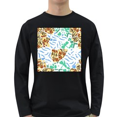 Broken Tile Texture Background Long Sleeve Dark T-Shirts