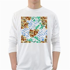Broken Tile Texture Background White Long Sleeve T-Shirts