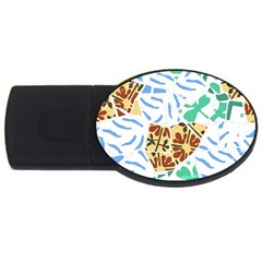 Broken Tile Texture Background USB Flash Drive Oval (4 GB)
