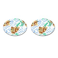 Broken Tile Texture Background Cufflinks (Oval)