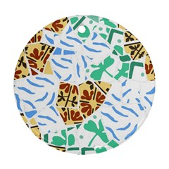 Broken Tile Texture Background Round Ornament (Two Sides)
