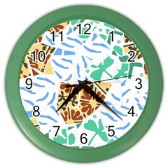 Broken Tile Texture Background Color Wall Clocks