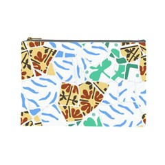 Broken Tile Texture Background Cosmetic Bag (Large)