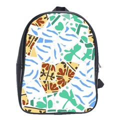 Broken Tile Texture Background School Bags(Large)