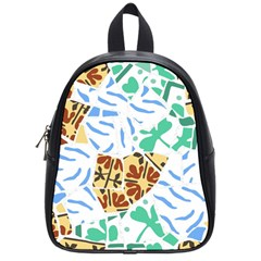 Broken Tile Texture Background School Bags (Small)