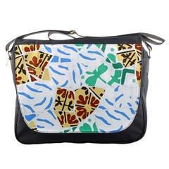 Broken Tile Texture Background Messenger Bags