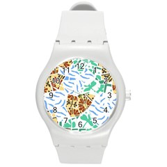 Broken Tile Texture Background Round Plastic Sport Watch (M)