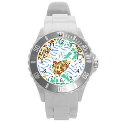 Broken Tile Texture Background Round Plastic Sport Watch (L)