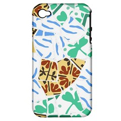 Broken Tile Texture Background Apple iPhone 4/4S Hardshell Case (PC+Silicone)