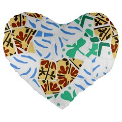 Broken Tile Texture Background Large 19  Premium Heart Shape Cushions