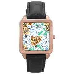Broken Tile Texture Background Rose Gold Leather Watch