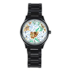Broken Tile Texture Background Stainless Steel Round Watch