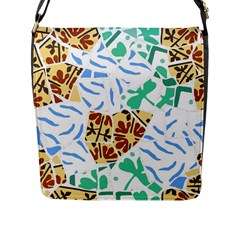 Broken Tile Texture Background Flap Messenger Bag (L)