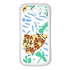 Broken Tile Texture Background Samsung Galaxy S3 Back Case (White)