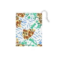 Broken Tile Texture Background Drawstring Pouches (Small)
