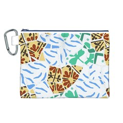 Broken Tile Texture Background Canvas Cosmetic Bag (L)