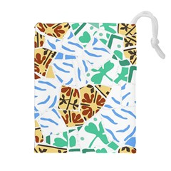 Broken Tile Texture Background Drawstring Pouches (Extra Large)