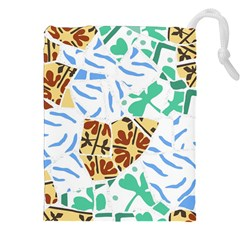 Broken Tile Texture Background Drawstring Pouches (XXL)
