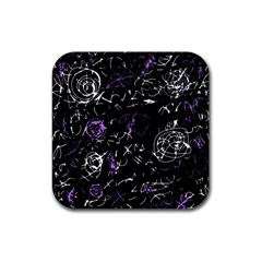 Abstract mind - purple Rubber Square Coaster (4 pack)