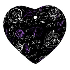 Abstract mind - purple Heart Ornament (2 Sides)