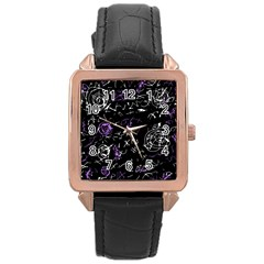 Abstract mind - purple Rose Gold Leather Watch