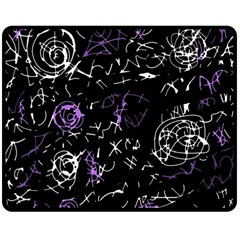 Abstract mind - purple Double Sided Fleece Blanket (Medium)