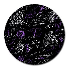 Abstract mind - purple Round Mousepads